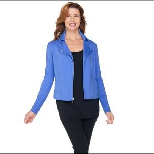 EUC H by Halston blue French terry moto jacket